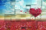 Hojas de arce rojas de la dimensión de una variable del amor que caen la pintura al óleo de la tierra 3D