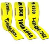 De gele Band van de Barrière van de Waarschuwing met de Tekst van de Druk
