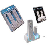 De dubbele Verre Lader van het Controlemechanisme + Batterij 2 voor Wii