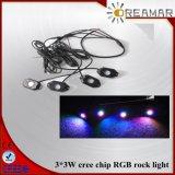 luz de la roca del RGB de la viruta del CREE 3.3W para el Wrangler LED IP67 impermeable ligero del jeep