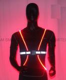 높은 시정 형광성 달리기 LED 조끼 사려깊은 조끼