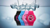 Caso de plástico Rubber Band Swiss Movement Digital Candy Colors Student Watches