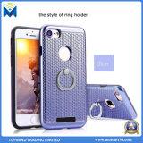 TPU y cubierta híbrida plástica dura de la caja del teléfono móvil con el sostenedor del anillo para el iPhone y Samsung