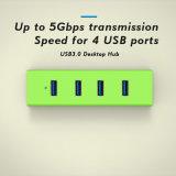 4 포트 5gbps USB 쪼개는 도구 컴퓨터 주변 장치 부속품을%s 가진 휴대용 USB 3.0 허브