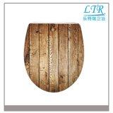 Siège de toilette universel universel en Europe avec motif en bois