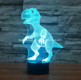 カスタム形のコードレス電池式の卓上スタンドカラー変更の恐竜USBセンサー3D LEDは夜ライトをからかう