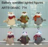 Cute Furry Cat com Iluminação Eyes-3asst. Luzes de Natal