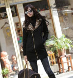 安い女性のコートの黒100%年のポリエステルジャケット