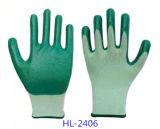 Guantes de trabajo de poliéster forro para guante de nitrilo gris con palma recubierta, Acabado Liso
