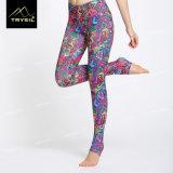 Schwierige gedruckte lange Legging Yoga-Fuss-Hosen