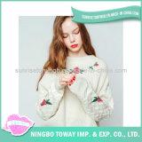Chandail mou de fille de coton de mode de laines de tricots long