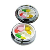 Promoção Gift Round Colorful Portable One Day Metal Pill Box Case