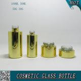 Gold Color Electroplate Garrafas De Vidro Cosmético E Frascos De Vidro De Cosmética