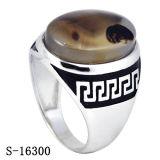 Anello d'argento dell'uomo dell'argento della pianura dei monili 925 con la pietra naturale