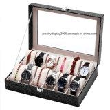 Nova caixa de relógio 12 grades de couro PU