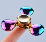 무지개 다채로운 금속 핑거 세 배 방적공 손 장난감 싱숭생숭함 방적공