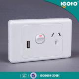 Interruttore elettrico elettrico standard australiano della parete dei punti di potere di approvazione di SAA doppio con lo zoccolo del USB