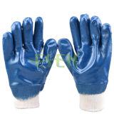 Перчатка промышленной работы безопасности перчаток сверхмощного нитрила Fullly Coated