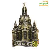 Haut de la vente célèbres bâtiments de la conception, en relief en métal avec remplissage d'huile coloré Fridge Magnet pour des souvenirs (FMJ113)