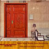 Неравная входная дверь твердой древесины двойной двери с картиной (XS1-023)