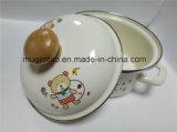 Double Handle Enamel Pot Cartoon Printing Saucepan