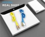 Material de caucho suave Cable de datos del teléfono del cargador del USB del micro