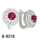 새로운 디자인 사치품은 925의 은 에메랄드 색 지르코니아 귀걸이를 유행에 따라 디자인 한다