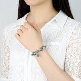 Antique Heart Pendant & Green Flower Beads Love Braceletes e Bangles para Mulheres Jóias