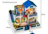 Casa de muñecas de juguete de madera azul para niños