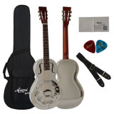 Aiersi Parlor Type Brass Body Resonator Guitare avec Pickup