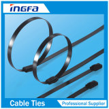 316 ataduras de cables inoxidables 4.6*450 de la venda de acero del bloqueo del uno mismo de la bola