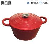 Ssのノブが付いているエナメルの鋳鉄の調理器具のカセロールの皿