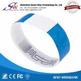 Wristband de papel do Hf 13.56MHz Mf1K RFID para o hospital do uso