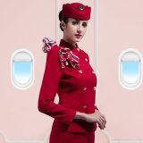 カスタマイズされた女性のダブルの明るく赤い女性の美しい航空会社のユニフォーム