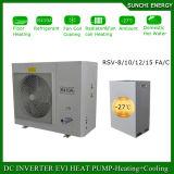 Riscaldatore di acqua spaccato Automatico-Defrostcop della pompa termica di sorgente di aria del tester Room12kw/19kw/35kw Evi del riscaldamento di pavimento di inverno della Danimarca -25c 100~350sq