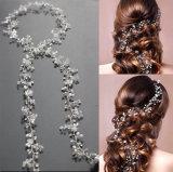 Haar van de Kroon Hairbands van het Kristal van de Parel van de Hoofdband van het Blad van de luxe het Lange Bruids