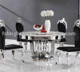 現代ガラスダイニングテーブルおよびステンレス鋼のダイニングテーブル