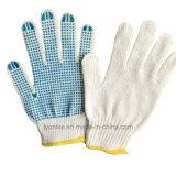 Стороны защитные перчатки из хлопка Dotting ПВХ синего цвета