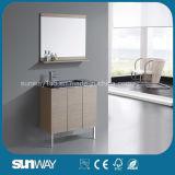 Мебель ванной комнаты Veneer горячего сбывания деревянная с раковиной