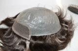 Toupee indiano do plutônio do cabelo humano de Remy mono para homens