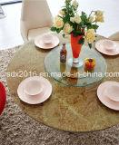 現代円形の大理石のガラスステンレス鋼の基礎ダイニングテーブルSj818