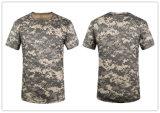 屋外スポーツのTシャツに上る9つのカラーCamoの円形首の不足分の袖