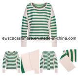 Женские чистого кашемира трикотажных изделий с зелеными полосами