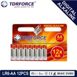 bateria seca alcalina preliminar de Digitas da manufatura de 1.5V China (LR6-AA 12PCS)