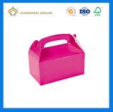 주문을 받아서 만들어진 분홍색 박공 상자 (주문 printing 및 손잡이)