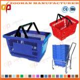Cesta de compras portable plástica del supermercado colorido con las manetas del metal (Zhb60)