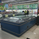 アイスクリームの表示のための青いカラー箱の島のフリーザー