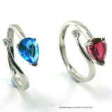 Wholesales Price Color Gemstone 3A White CZ Rings (R10588)