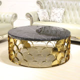 Tavolino da salotto dorato del marmo dell'acciaio inossidabile della giuntura unica 2017