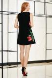 Sleeveless Plazierungs-Stickerei eine Zeile Kittel gesponnenes Kleid